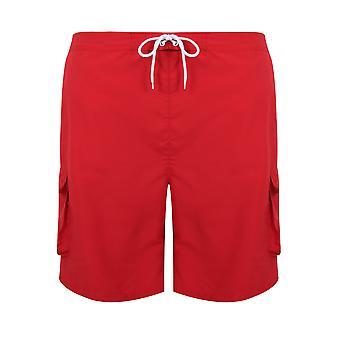 BadRhino Red Cargo Swim Shorts
