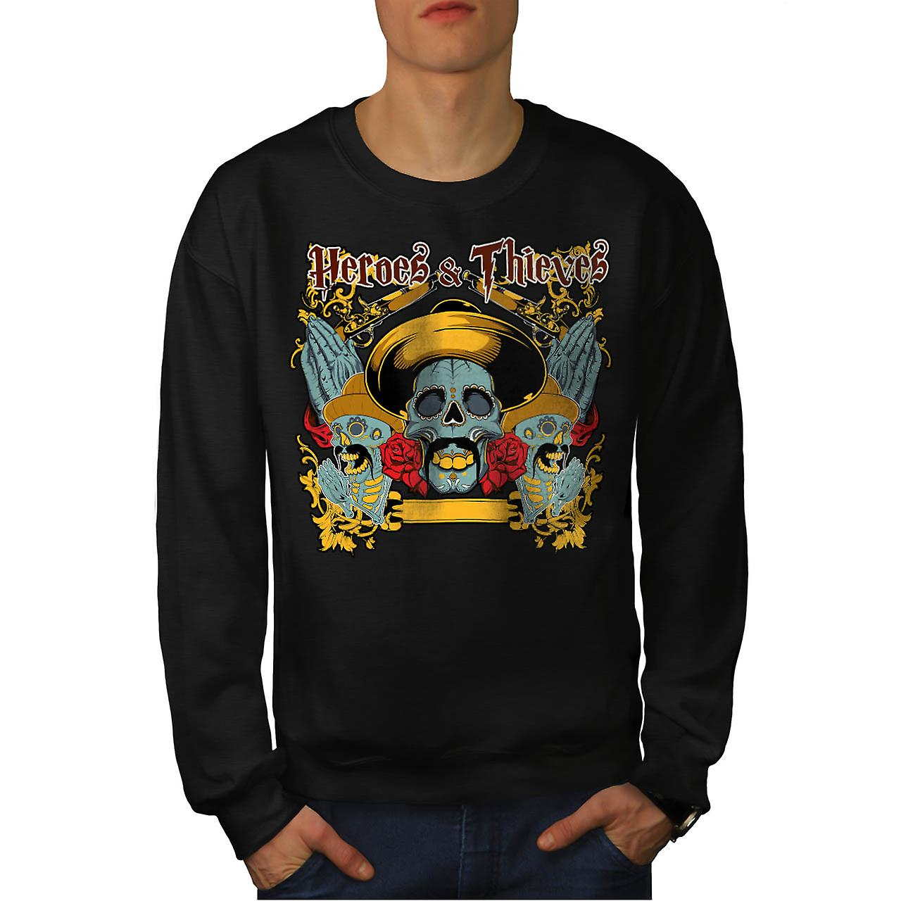 Heroes Thieves Mexico Dead Skull Men Black Sweatshirt | Wellcoda