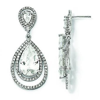 Oorbellen in zilver CZ Dougle Teardrop Dangle Post