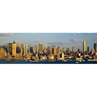 Hudson River City Skyline NYC Nova Iorque Nova Iorque Estado EUA Poster Print