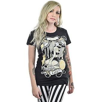 Too Fast Babydoll Lady Alive Womens Tshirt Black Tattoo Pin Up