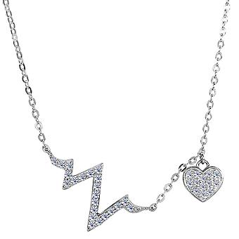 Sterling Silver Heart Beat CZ Charms ketting, 18