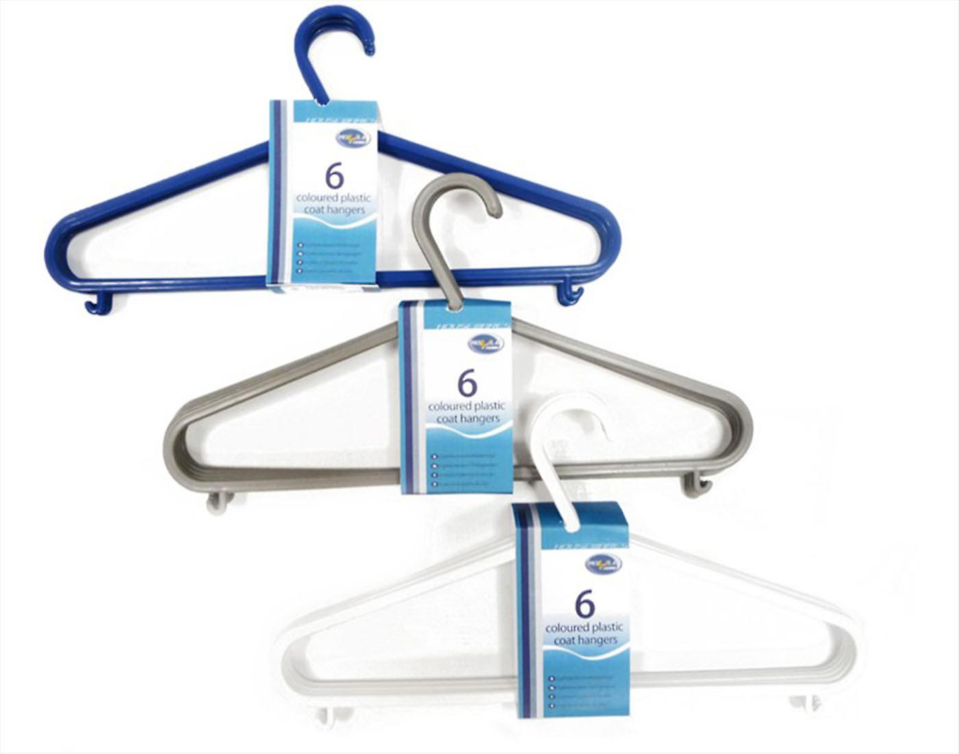 Coat Hangers White Plastic Pack Of 6 Coat & Clothes Hangers with hooks