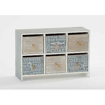 6Drawer Aquatic Coast Theme Wooden Unit Jewel Cabinet