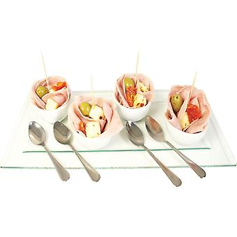 9Pc Mini White Ceramic Round Bowls with Spoons and Glass Serving Tray