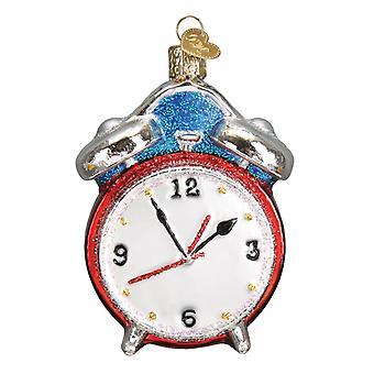 Gammeldags julen Alarm Clock Retro utseende ferie Ornament Glass 3.75 Inches
