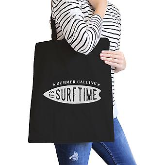 Summer Calling It's Surf Time Black Canvas Beach Shoulder Bag Gifts