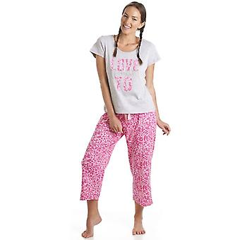 Camille Grey And Pink Leopard Print Love To Dream Motif Pyjamas