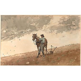 Winslow Homer - Man with Plow Horse Poster Print Giclee