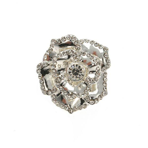 W.A.T Silver Crystal Petal Flower Ring