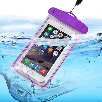 ONX3 (Purple) Wiko Ridge 4G Universal Durable Underwater Dry Bag, Touch Responsive Transparent Windows, Watertight Sealed System Pouch