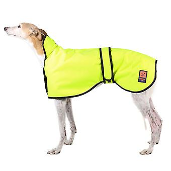 Ginger Ted Greyhound / Whippet / Lurcher Shower Waterproof Coat Hi Vis Yellow with Warm Fleece Lining (All Sizes)