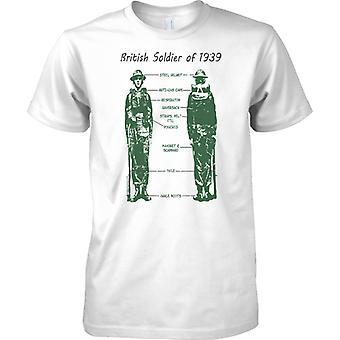 Britse soldaat van 1939 - Kit Diagram - Kids T Shirt