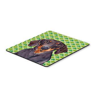 Dachshund St. Patrick's Day Shamrock Portrait Mouse Pad, Hot Pad or Trivet