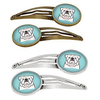 Checkerboard Blue White English Bulldog  Set of 4 Barrettes Hair Clips