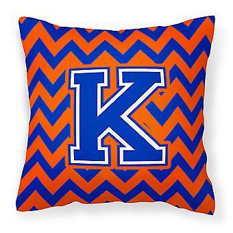 Bokstaven K Chevron oransje og blå stoff Dekorative Pillow