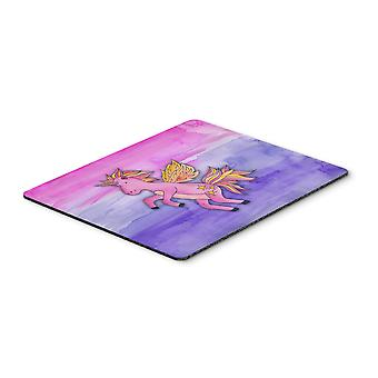 Pink Unicorn Watercolor Mouse Pad, Hot Pad or Trivet