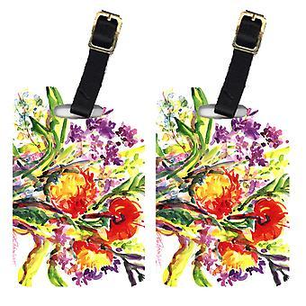 Carolines Treasures  6042BT Pair of 2 Flowers Luggage Tags