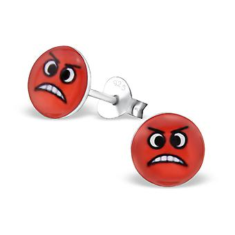 Furious Face - 925 Sterling Silver Colourful Ear Studs