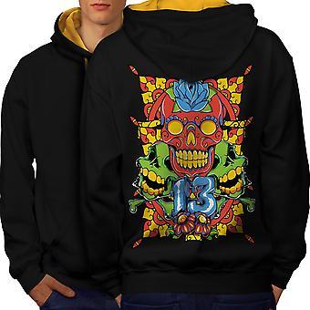 Face Evil Art Men Black (Gold Hood)Contrast Hoodie Back | Wellcoda