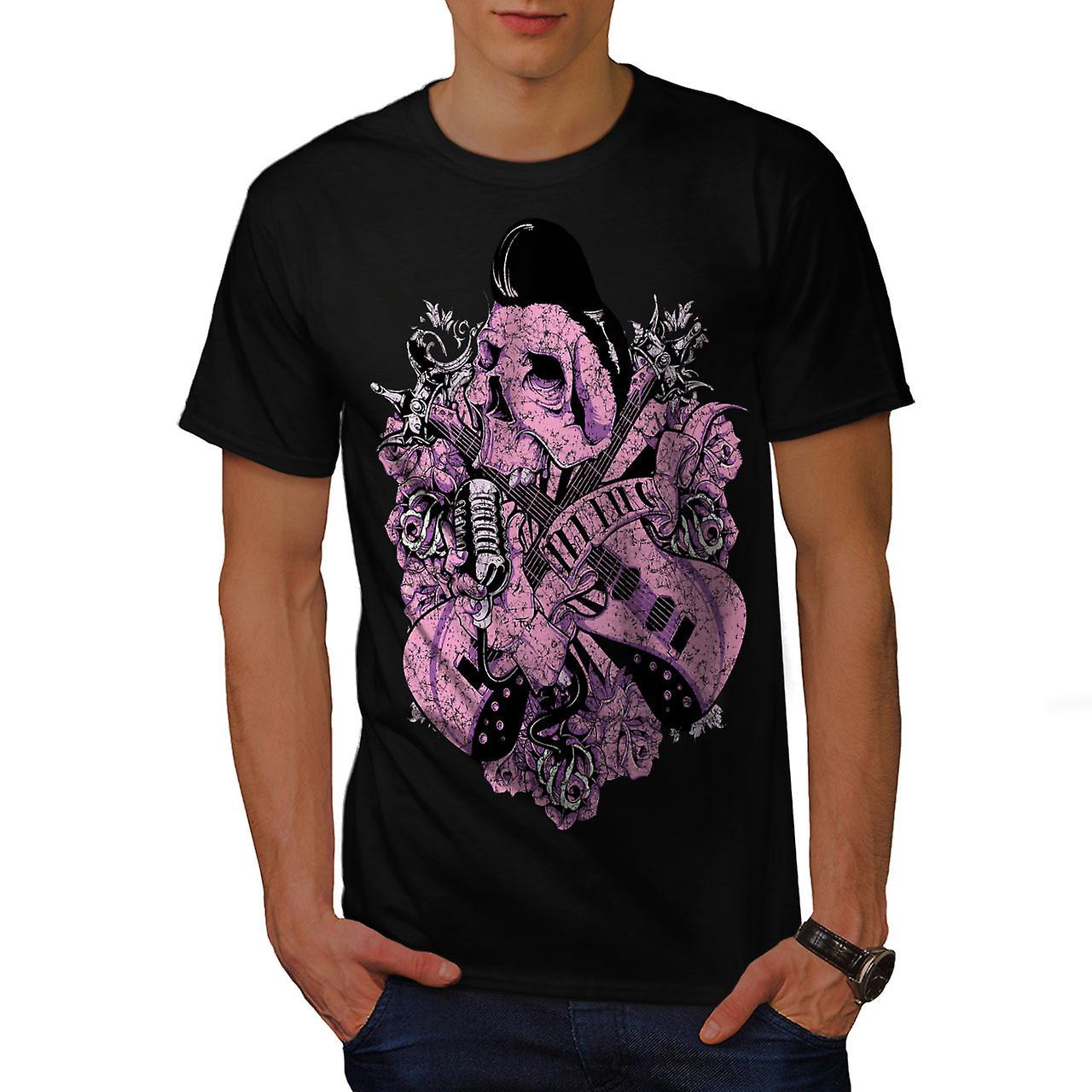 Rock N Roll Skull Music Men Black T-shirt | Wellcoda