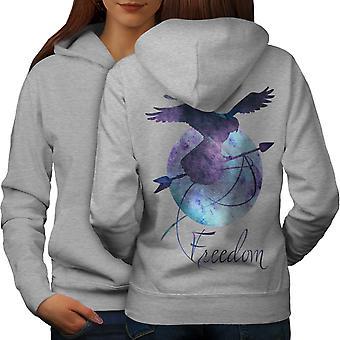 Freedom Eagle Art Fashion Women GreyHoodie Back | Wellcoda