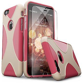 SaharaCase® iPhone 6/6s caja oro rosa, X-Case protector Kit paquete con ZeroDamage® vidrio templado