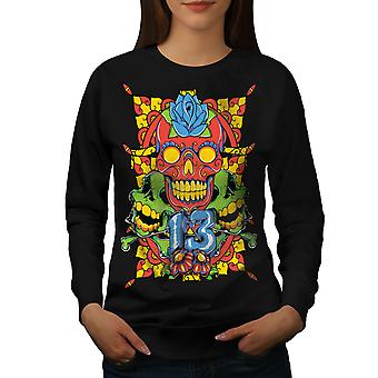 Face Evil Art Women BlackSweatshirt | Wellcoda