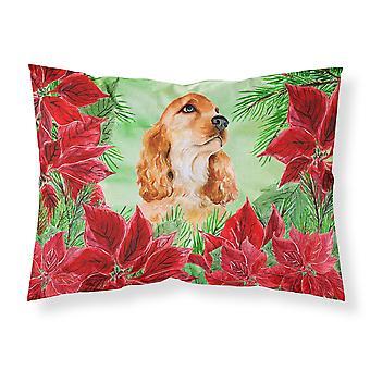 Cocker Spaniel Poinsettas Fabric Standard Pillowcase