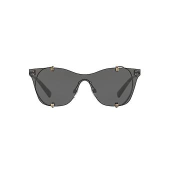 Valentino Metal Mesh Visor Sunglasses In Ruthenium Grey