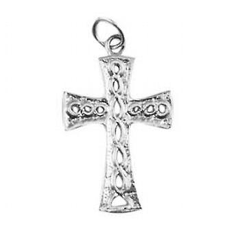 Silver 24x17mm knot embossed Celtic Cross