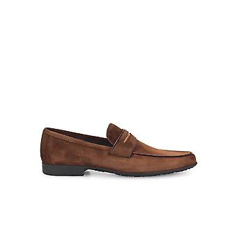 MORESCHI BROWN SUEDE LOAFERS