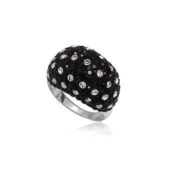 Ring Crystal Dome black and white and Silver 925