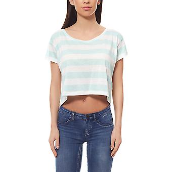 pièces shirt ladies crop top Emma new printed turquoise strapless