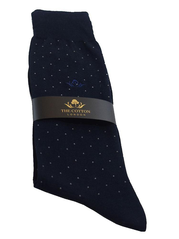 Pindot cotton blend socks – navy