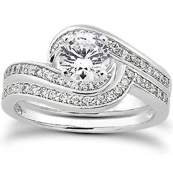 7/8ct Diamond Wedding Ring Set 14K White Gold