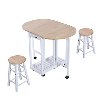 HOMCOM 3pc 3PC Wooden Kitchen Cart Mobile Rolling Trolley Folding Bar Table Two Stools Dining Chair Storage Shelf w/ 2 Drawers & 6 Wheels Folding Stools Wheels
