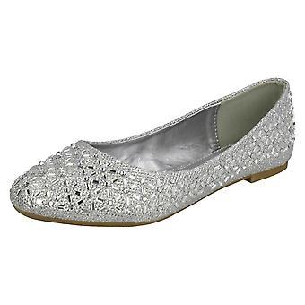 Ladies Spot On Jewelled Ballerinas F80387 - Black Glitter - UK Size 3 - EU Size 36 - US Size 5