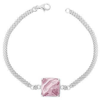 Orphelia Silber 925 Armband 15Cm Quadrat Rosa Zirkon ZA-7101/1
