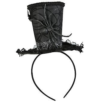 Acessórios de horror do headband mini cilindro preto aranha Halloween