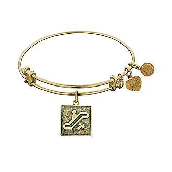 Stipple Finish Brass Escalator Of Life Angelica Bangle Bracelet, 7.25