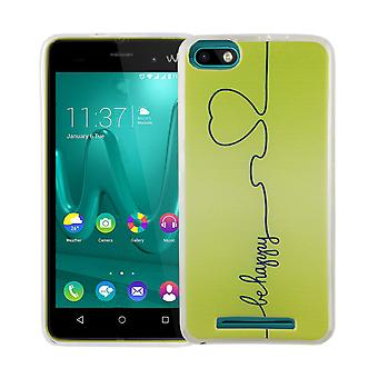 Handy Hülle für Wiko Lenny 3 Cover Case Schutz Tasche Motiv Slim Silikon TPU Be Happy Grün