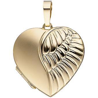 333 goud geel goud hart hanger medaillon hart matte afwerking 2 foto's openen