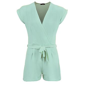 Ladies Turn Up Sleeves V Neck Wrap Front Smart Women's Party Playsuit Shorts