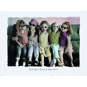 Girls just Want to Have Fun!  Poster 5 Mädchen auf Sofa Kleinformat