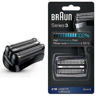 Braun 21B série 3 barbeador elétrico substituição fita cartucho folha - preto