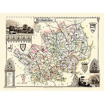Map of Hertfordshire 1836 by Thomas Moule 1000 Piece Jigsaw Puzzle (jg)