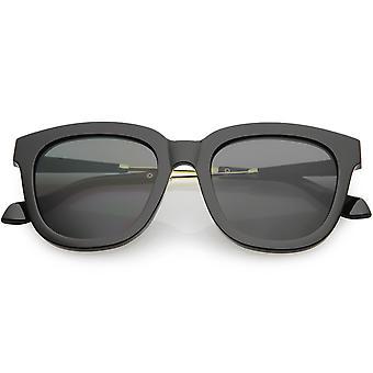 Women's Oversize Horn Rimmed Square Sunglasses Mirrored Lens 52mm
