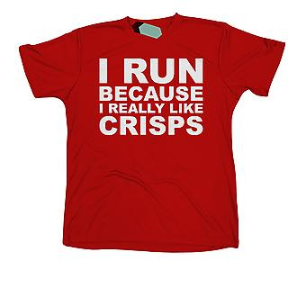 I Run Because I really Like Crisps, Mens Tridri Gym Top