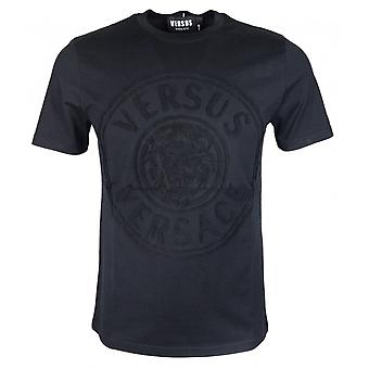 Versace Round Neck Slim Fit Stitched Logo Black T-shirt